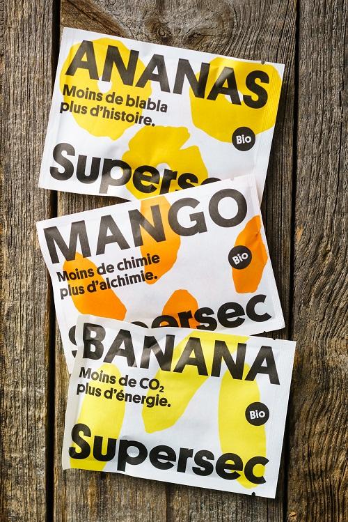 Ananas, mangue et banane séché bio de Supersec en poches