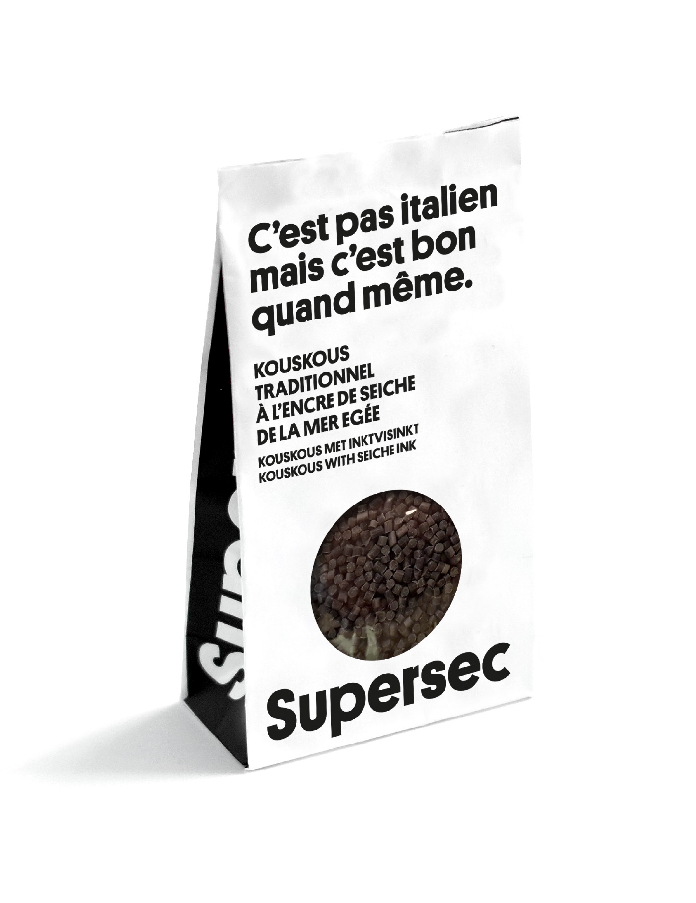 Sachet entièrement compostable du Risoni à l'encre de sèche dans les Superbox des produits bio Supersec