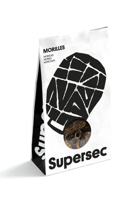 Morille séché bio en paquet, un champignon de la marque Supersec