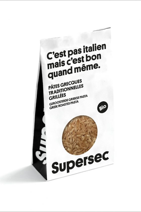 Risoni traditionnel grec en paquet, pâtes bio de la marque Supersec