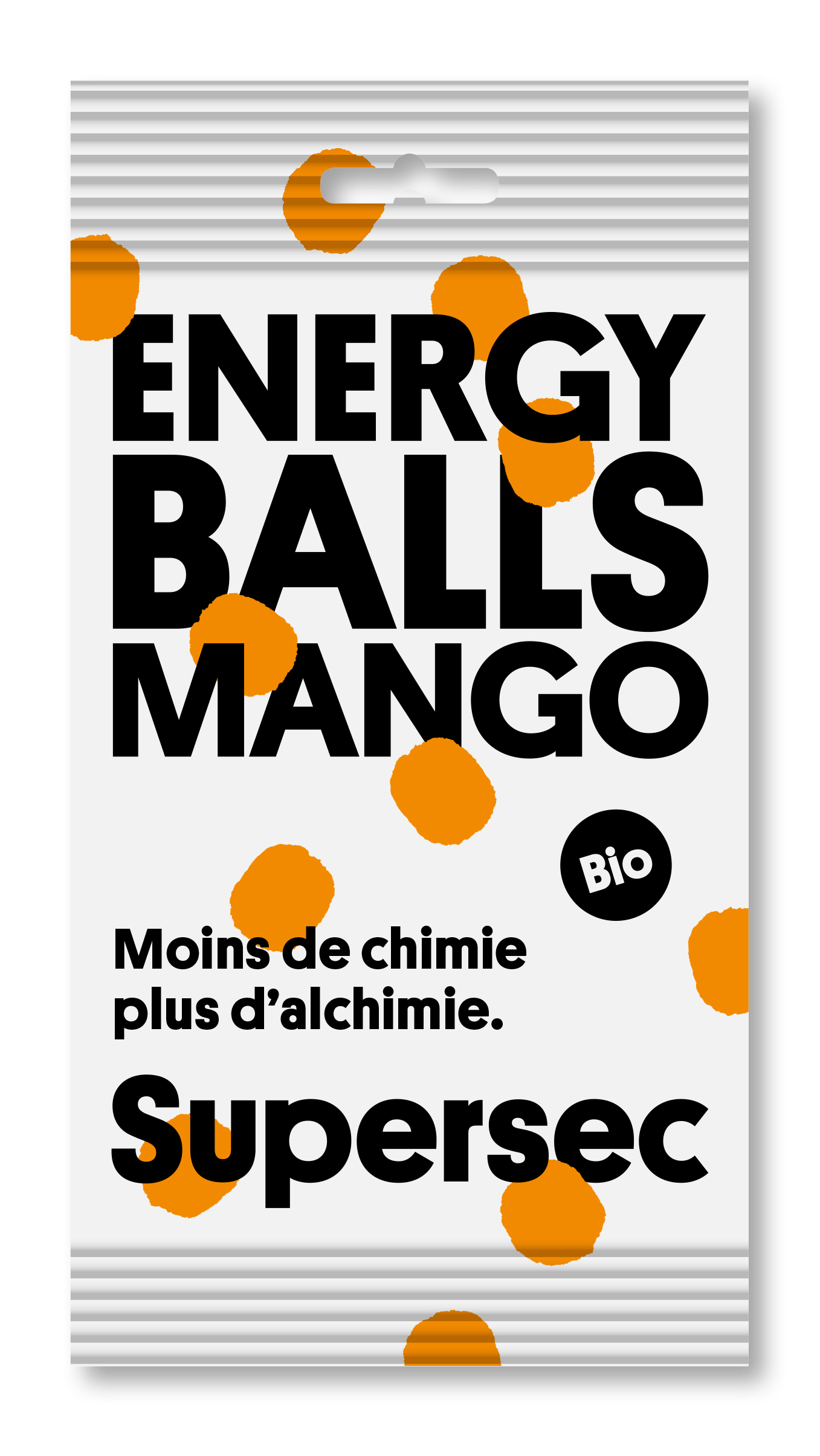 Poche des Energy Balls 100% mango bio de Supersec