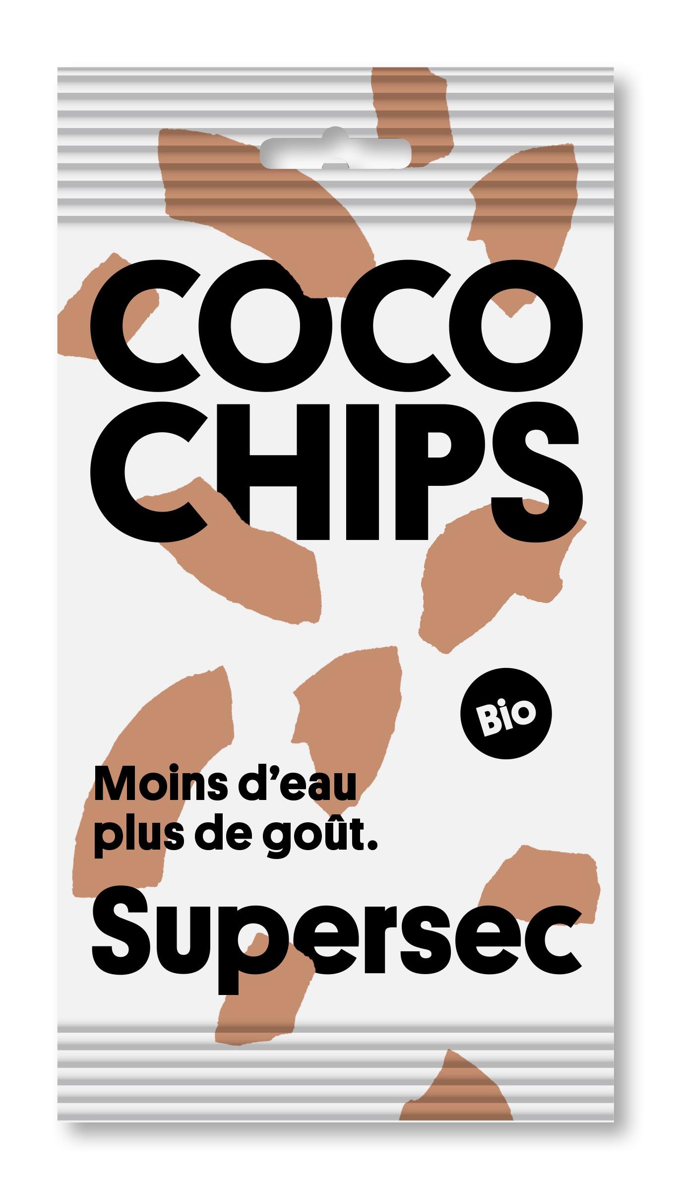 Poche de coco chips bio de Supersec, idéales pour les petite fringales