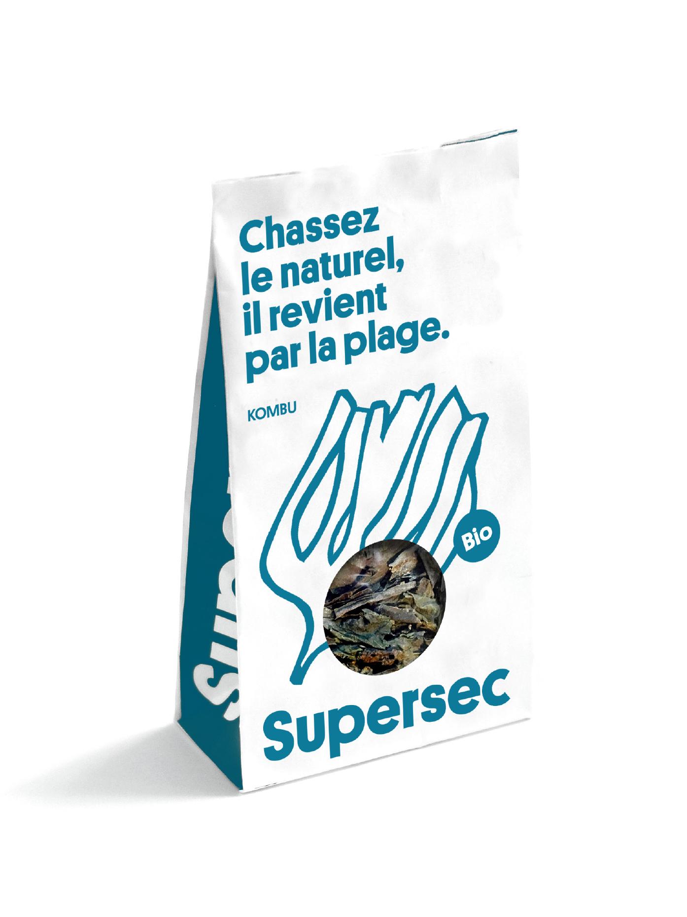 Sachet de Kombu breton, une algue bio séchée par Supersec