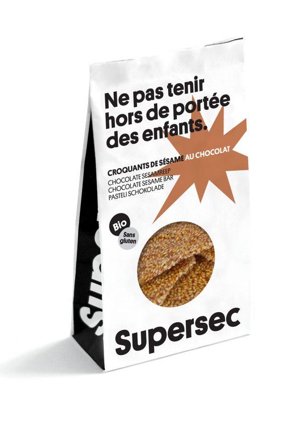 Croquants au sésame au chocolat bio et sans gluten de Supersec
