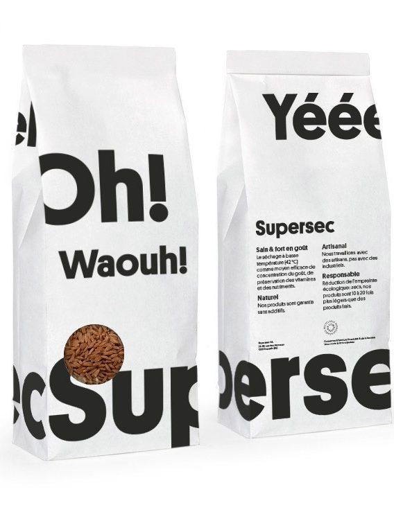 Sachet entièrement compostable du Risoni traditionnel dans les Superbox des produits bio Supersec